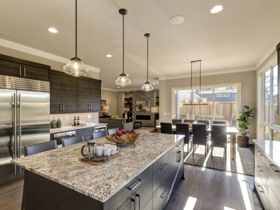 gray kitchen remodel with dark cabinetry in Edina