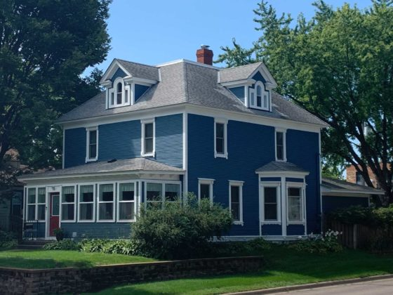 restored blue victorian home